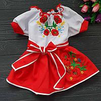 Вышитое платье детское с красивыми цветами