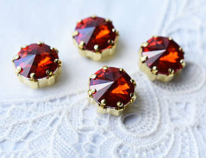Стрази скляні в оправі Корона 12мм, червоні / золото