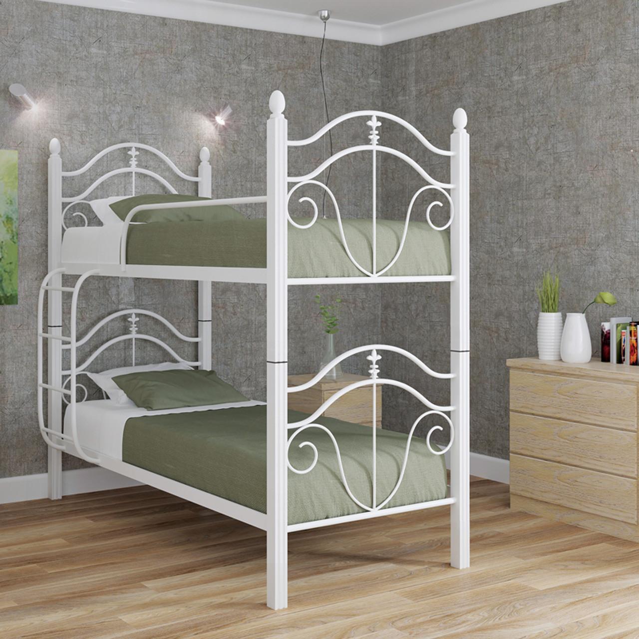 Ліжко металеве двох'ярусне Діана на дерев'яних ніжках (трансформер)
