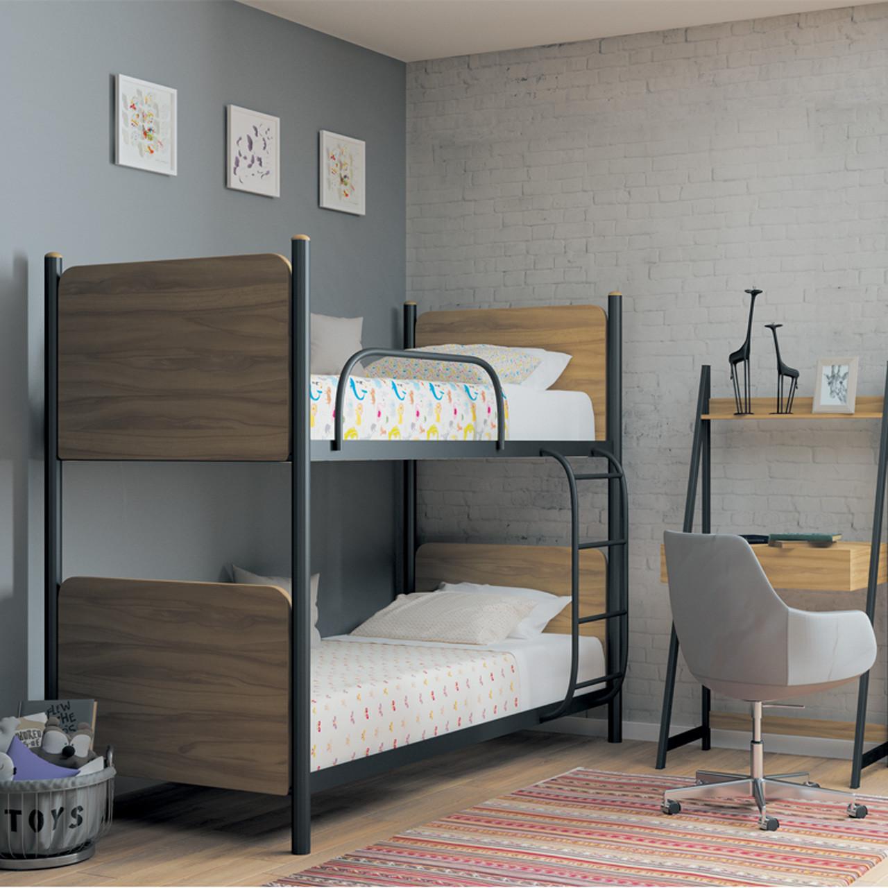 Кровать металлическая двухъярусная Арлекино