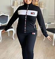 Спортивный костюм с нашивками женский батальный TOMMY (ПОШТУЧНО) ЧЁРНЫЙ, фото 1