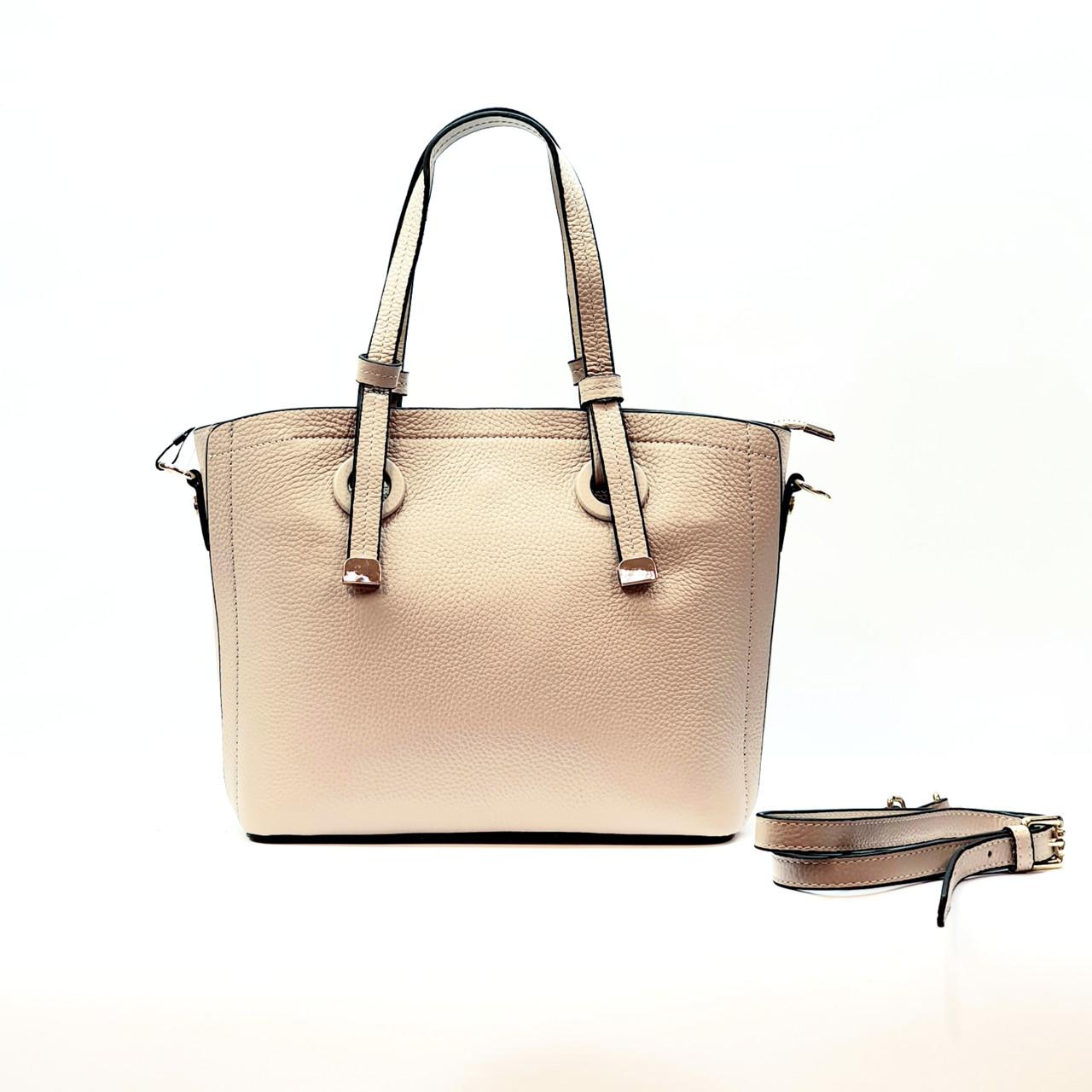 Женская сумка бежевая средняя повседневная натуральная кожа