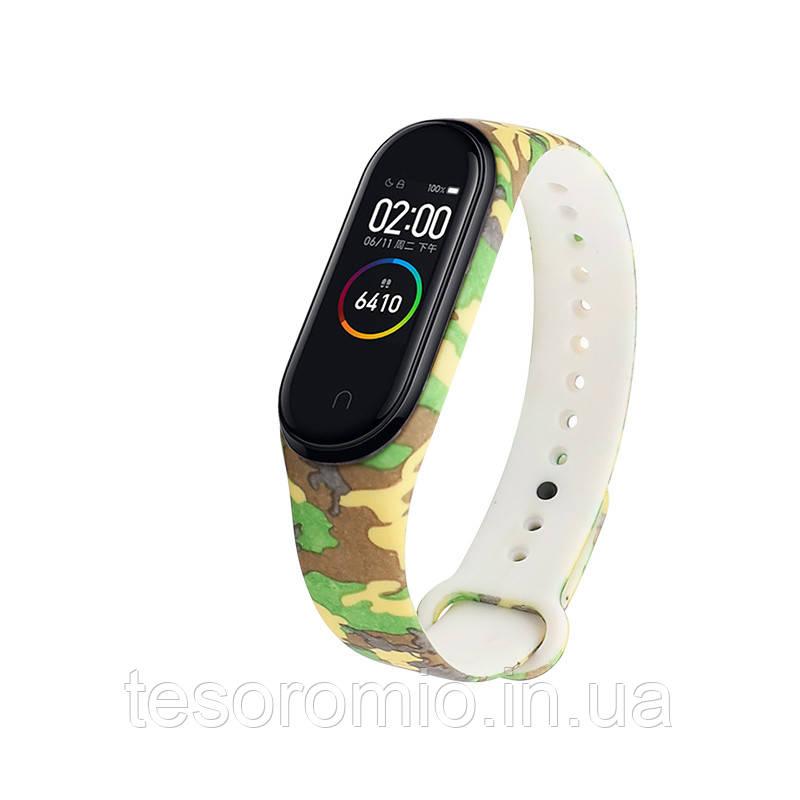 Силиконовый ремешок защитный ХАККИ светлый на фитнес трекер часы Xiaomi mi band 3 / 4 браслет аксессуар замена