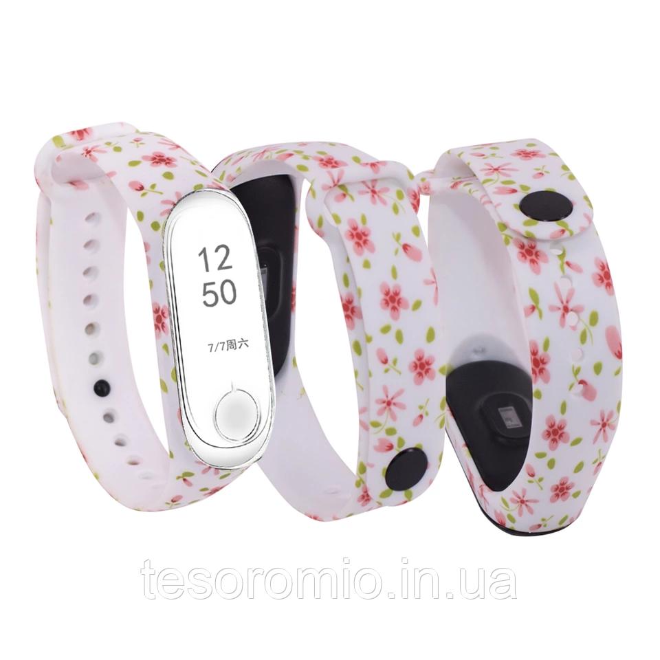 Силиконовый ремешок РОЗОВЫЕ ЦВЕТЫ на фитнес часы Xiaomi mi band 3 / 4 браслет аксессуар замена