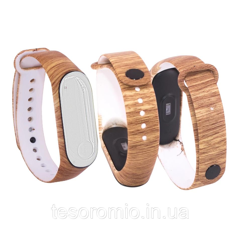 Силиконовый ремешок ДЕРЕВЯННЫЙ на фитнес трекер часы Xiaomi mi band 3 / 4 браслет аксессуар замена