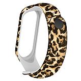 Силиконовый ремешок ЗВЕРИНЫЙ ПРИНТ коричневый на фитнес часы Xiaomi mi band 3 / 4 браслет аксессуар замена, фото 3