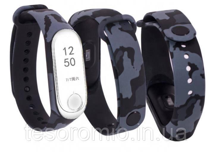 Силиконовый ремешок ЗАЩИТНЫЙ СЕРЫЙ на фитнес часы Xiaomi mi band 3 / 4 браслет аксессуар замена