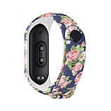 Силиконовый ремешок РОЗЫ НА ЧЕРНОМ на фитнес часы Xiaomi mi band 3 / 4 браслет аксессуар замена, фото 2