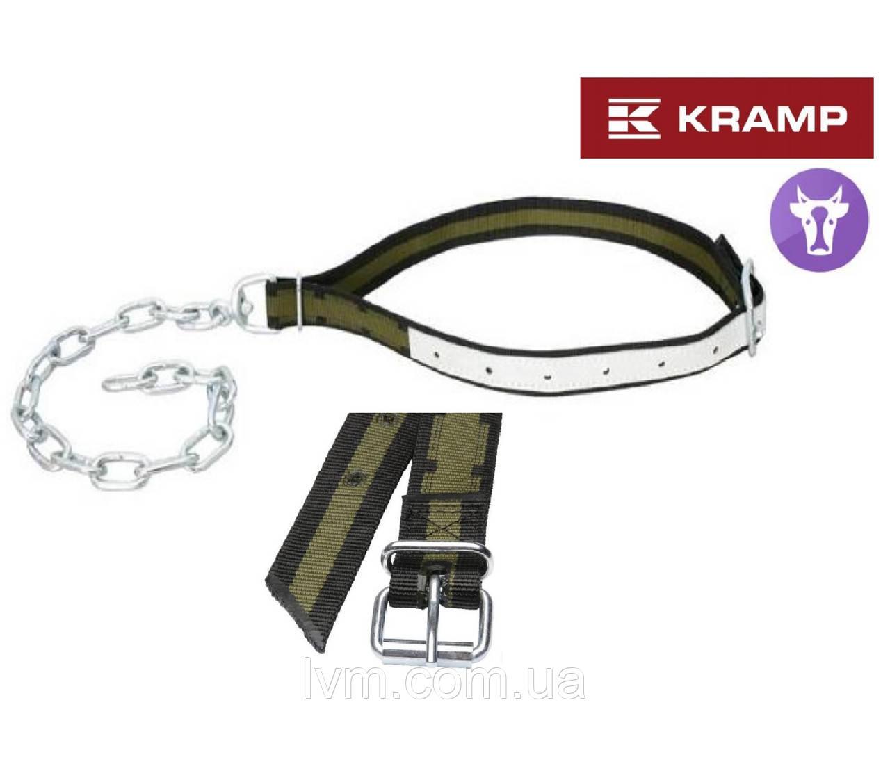 Ошейник 4*120см с цепком 77см и вертлюгом, с кожаной вставкой, для привязи коров KRAMP (Германия)