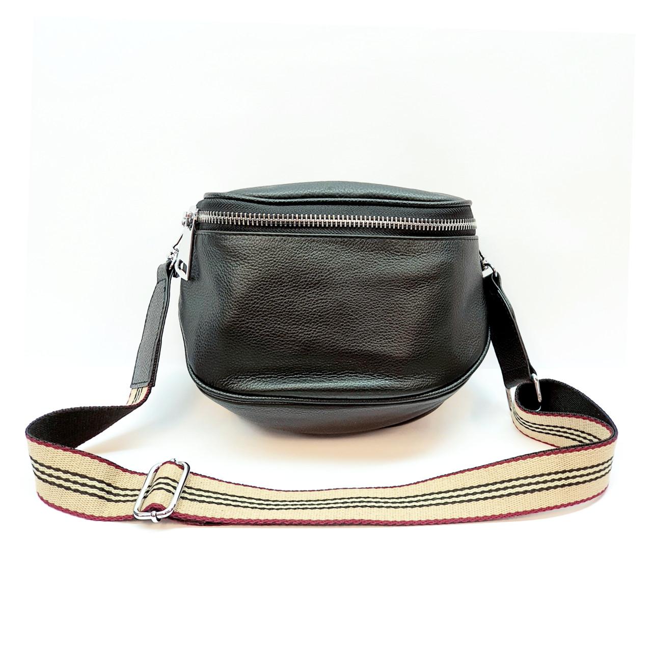 Женская сумка черная маленького размера повседневная натуральная кожа