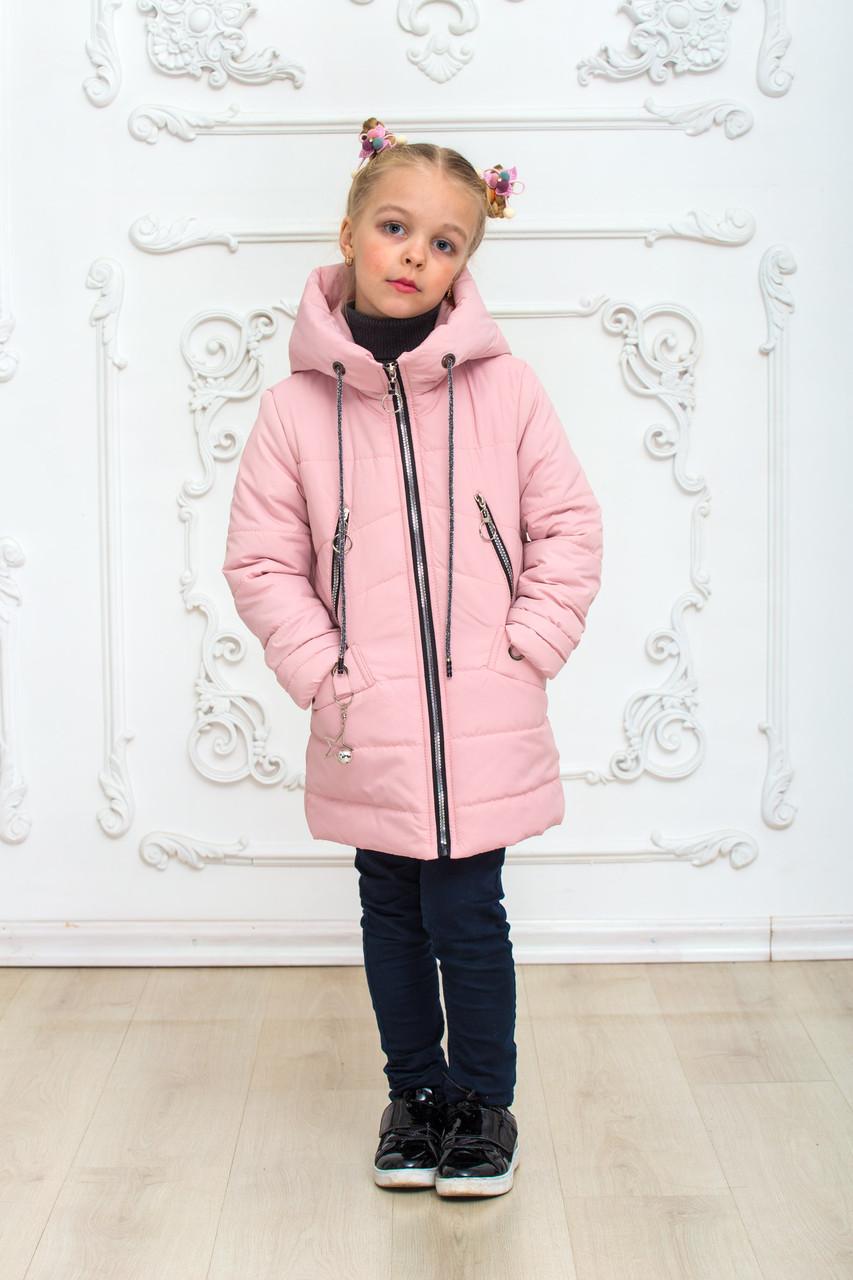 Детская демисезонная куртка на девочку удлиненная курточка весна-осень пудровая 6-11 лет