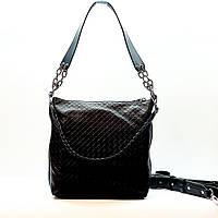 Женская сумка черная средняя повседневная натуральная кожа, фото 1