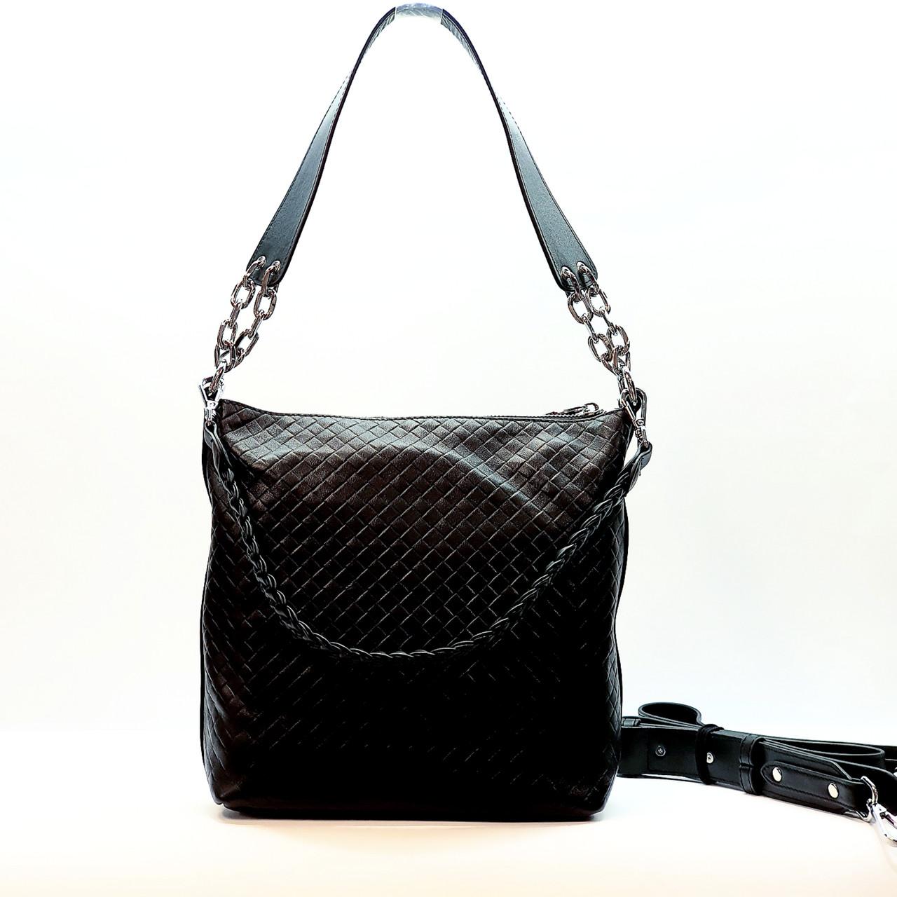 Женская сумка черная средняя повседневная натуральная кожа