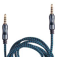 Кабель аудио AUX 3,5 мм 1,5м,ткань (Blue/Black) (AUX Bl/Bk)