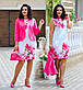 """Нарядный женский костюм с платьем в батальных размерах 803-1 """"Диагональ Принт Цветы Жакет"""" в расцветках, фото 2"""