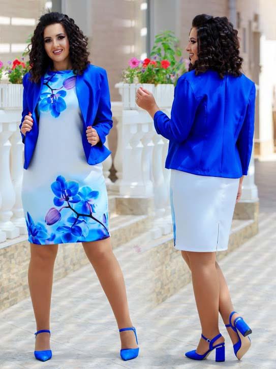 """Нарядный женский костюм с платьем в батальных размерах 803-1 """"Диагональ Принт Цветы Жакет"""" в расцветках"""