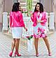 """Нарядный женский костюм с платьем в батальных размерах 803-1 """"Диагональ Принт Цветы Жакет"""" в расцветках, фото 5"""