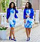 """Нарядный женский костюм с платьем в батальных размерах 803-1 """"Диагональ Принт Цветы Жакет"""" в расцветках, фото 4"""