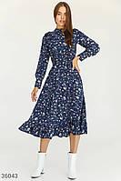 Цветочное платье-миди синего цвета S M L