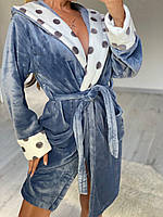 Плюшевый халат с капюшоном теплый и мягкий, фото 1