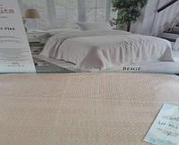 Вафельная Летняя Простынь Покрывало На Кровать Однотонное Евро Размер La Rita Бежевая