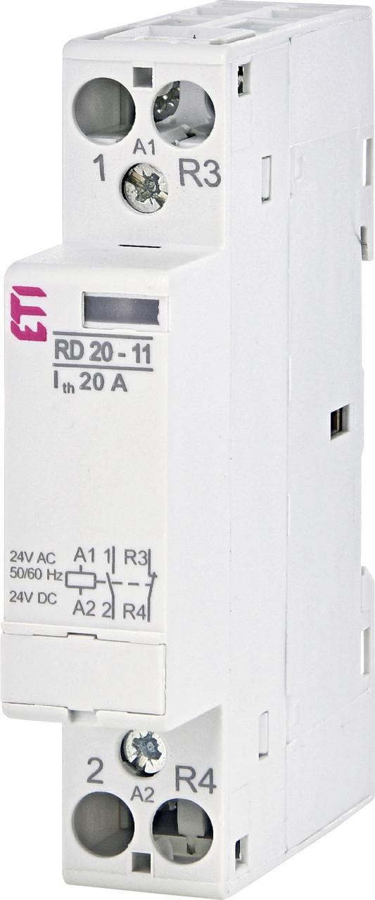 Контактор ETI RD 20-11 20А 24V AC/DC 2NO 2464007 (модульный силовой, 2-полюсный)
