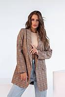 Удлиненный женский пиджак в клетку бежевый (2 цвета) НК/-8241