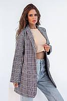 Удлиненный женский пиджак серый в клетку (2 цвета) НК/-8241