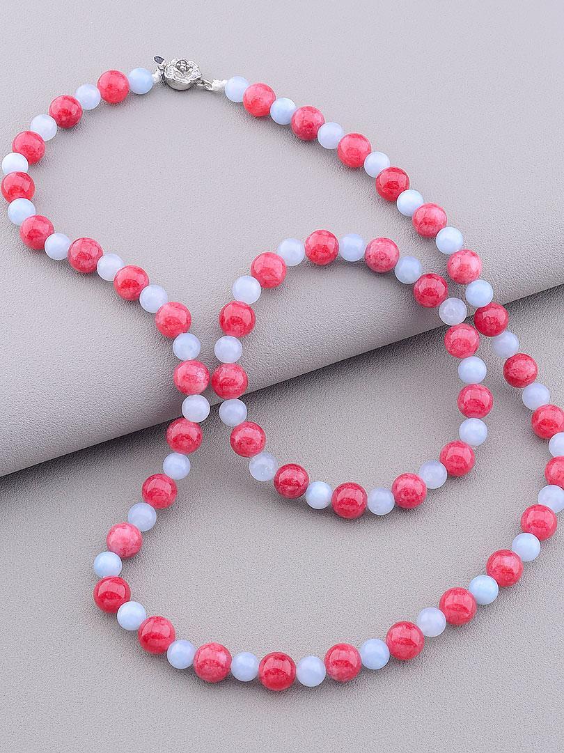 Комплект женских украшений состав набора бусы и браслет на руку SUNSTONES из натурального камня Клубничный кварц 46 см