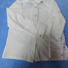 Нарядная школьная блуза для девочки с воротником стойка. и кружевом