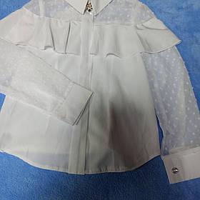 Нарядная шикарная белая блуза для девочки с воланом и сеткой.