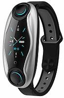 Фитнес-браслет с беспроводными наушниками Smart TWS T90 6940, черный