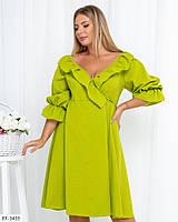 Модное женское платье длины миди, большие размеры