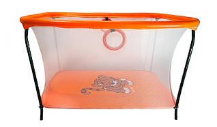 Манеж детский игровой KinderBox люкс Оранжевый тигренок с мелкой сеткой (km558)