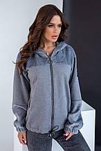 Куртка-бомбер на хутрі для прохолодної осені, холодного приміщення, різні кольори р. 46,48,50 Код 292Ч