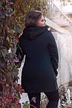 Женский кардиган на флисе с капюшоном и на молнии удлиненный, разные цвета р.44,46,48,50 Код 265Ч, фото 2