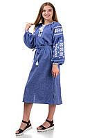 Сукня вишиванка колір джинс «Івана Купала»