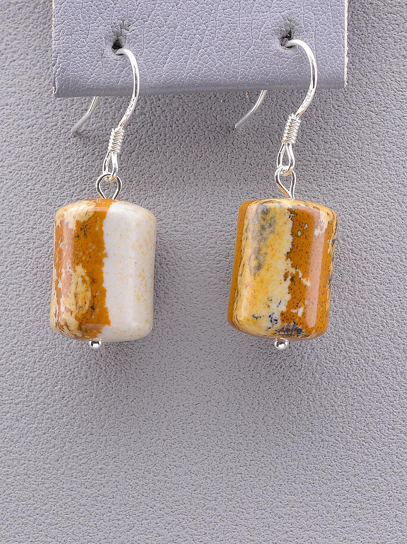 Серьги женские с натуральным камнем SUNSTONES Яшма Серебро 925