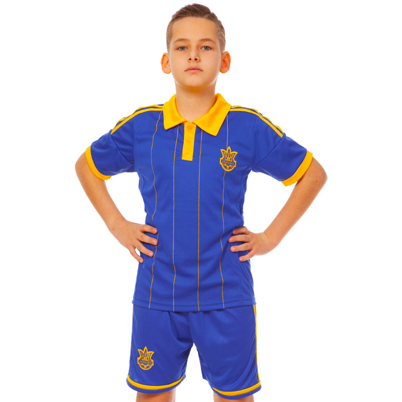 Форма футбольная детская УКРАИНА CO-3900-UKR-14 цвет Синий S-24, на рост 125 - 135
