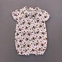 Детский песочник ромпер летний для девочки Клубничка 80 9-12 мес в виде рубашки