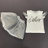 Детский нарядный летний комплект костюм для девочки с футболкой и фатиновой юбкой