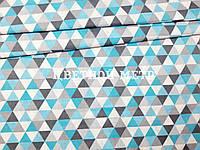 Хлопковая детская бязь польская треугольники бирюзовые, серые, белые