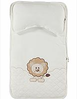 Вкладыш в коляску белый с подушкой для новорожденных Львенок