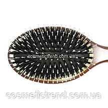 Щетка для волос массажная овальная деревянная со смешанной щетиной Salon Professional 7699 CLG, фото 2