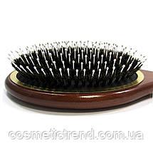 Щетка для волос массажная овальная деревянная со смешанной щетиной Salon Professional 7699 CLG, фото 3