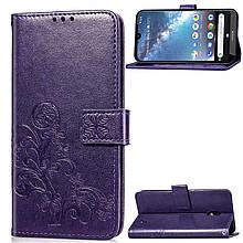 Чехол Clover для Nokia 2.2 книжка с визитницей кожа PU фиолетовый