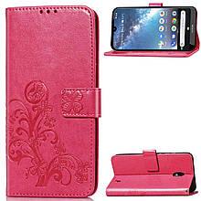 Чехол Clover для Nokia 2.2 книжка с визитницей кожа PU малиновый