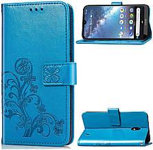 Чехол Clover для Nokia 2.2 книжка с визитницей кожа PU голубой