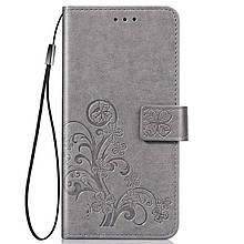 Чехол Clover для Nokia 2.2 книжка с визитницей кожа PU серый