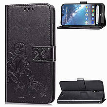Чехол Clover для Nokia 2.2 книжка с визитницей кожа PU черный